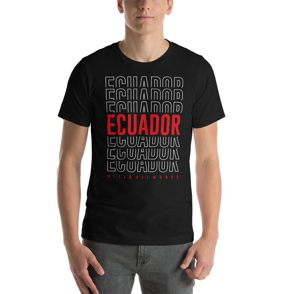 Camiseta estampado Ecuador hombre negro premium