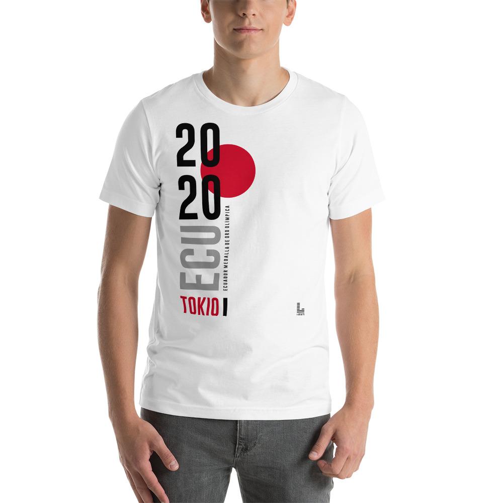 Camiseta estampado Ecuador Tokio Japón hombre blanco premium