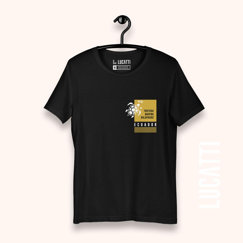 Camiseta con estampado de bolsillo Galápagos tortuga hombre color negro