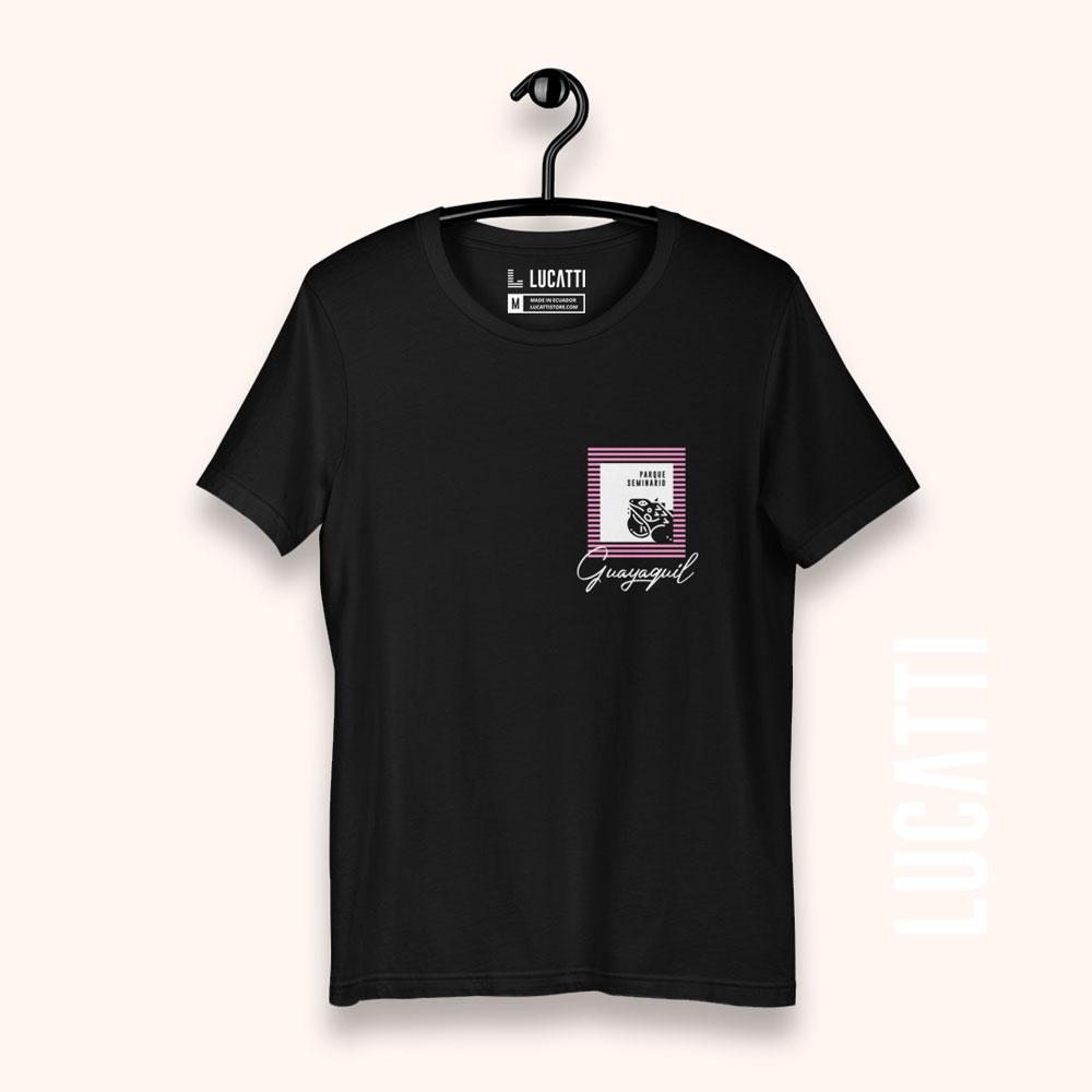 Camiseta con estampado de bolsillo Guayaquil Parque Las Iguanas mujer negro