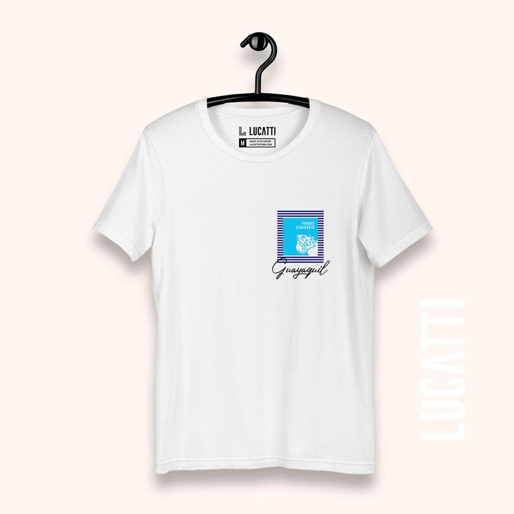 camiseta con estampado de bolsillo Guayaquil Las Iguanas para hombre color blanco